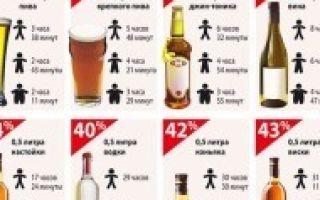 Скорость выведения алкоголя из организма — калькулятор и таблица вывода разных видов спиртного
