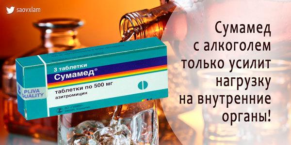 Алкоголь и сумамед: взаимодействие с алкоголем, через сколько можно пить?